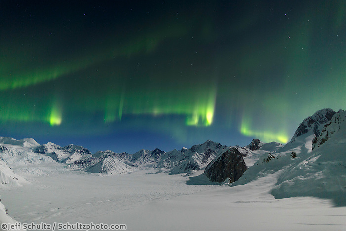 Sheldon ---Aurora Borealis -- Northern Lights in the Ruth Glacier and Amphitheater in the Alaska Range.  Winter 2017<br /> <br /> Photo by Jeff Schultz/SchultzPhoto.com  (C) 2017  ALL RIGHTS RESERVED
