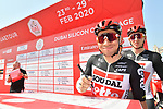 Caleb Ewan (AUS) and Lotto-Soudal at sign on before Stage 1 of the UAE Tour 2020 running 148km from The Pointe to Dubai Silicon Oasis, Dubai. 23rd February 2020.<br /> Picture: LaPresse/Massimo Paolone | Cyclefile<br /> <br /> All photos usage must carry mandatory copyright credit (© Cyclefile | LaPresse/Massimo Paolone)