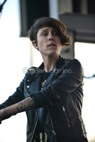 SUNRISE, FL - DECEMBER 20: Tegan Quin  of Tegan and Sara performs at Y100's Pre-Show at the Jingle Ball Village on the plaza at the BB&T Center on December 20, 2013 in Sunrise, Florida. . © MPI10/MediaPunch Inc