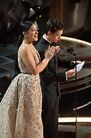 Gina Rodriguez and Tom Holland present the Oscar&reg; for achievement in visual effects during the live ABC Telecast of The 90th Oscars&reg; at the Dolby&reg; Theatre in Hollywood, CA on Sunday, March 4, 2018.<br /> *Editorial Use Only*<br /> CAP/PLF/AMPAS<br /> Supplied by Capital Pictures