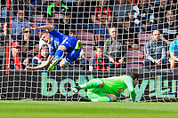 Jamie Vardy of Leicester City goes flying after Asmir Begovic of AFC Bournemouth makes a stop during AFC Bournemouth vs Leicester City, Premier League Football at the Vitality Stadium on 15th September 2018