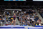 21 APR 2012:  Ashley Priess of the University of Alabama finishes her routine on the uneven bars during the Division I Women's Gymnastics Championship held at the Gwinnett Center Arena in Duluth, GA. Joshua Duplechian/NCAA Photos