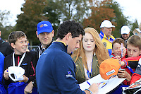 Rory McIlroy Europe signs autographs on the range Tuesday's Practice Day ahead of the 2014 Ryder Cup at Gleneagles. The 40th Ryder Cup is being played over the PGA Centenary Course at The Gleneagles Hotel, Perthshire from 26th to 28th September 2014.: Picture Eoin Clarke, www.golffile.ie: 23-Sep-14