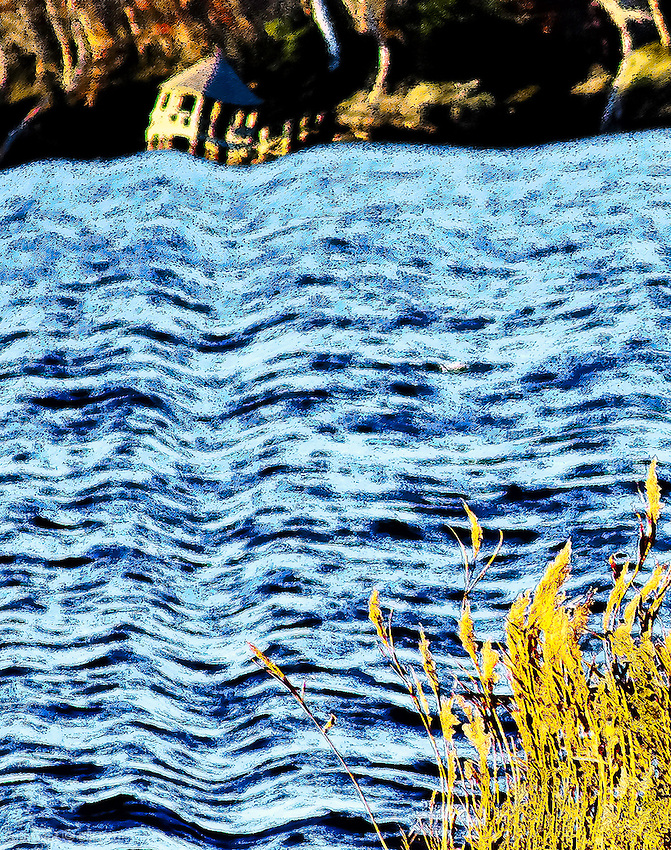 DETAIL River Flow Afternoon ~<br /> An interpretive treatment in panoramic format summons up river recollections warmly banked away for restful recall.<br /> <br /> Please close window to return to Gallery