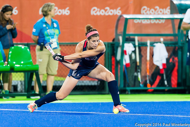 Rachel Dawson #8 of United States sets up to pass during Great Britain vs USA in a women's Pool B game at the Rio 2016 Olympics at the Olympic Hockey Centre in Rio de Janeiro, Brazil.