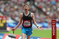 Tom Bosworth of Great Britain celebrates breaking the world record in the menís one mile walk during the Muller Anniversary Games at The London Stadium on 9th July 2017