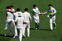 The Black Caps celebrate the wicket of Dawid Malan off the bowling of Trent Boult, New Zealand Black Caps v England. Day 1 of the day-night, pink ball cricket test match at Eden Park in Auckland. 22 March 2018. Copyright Image: William Booth / www.photosport.nz