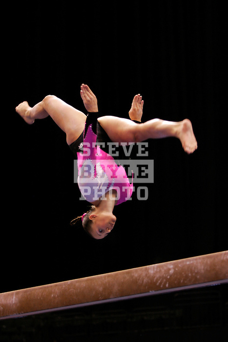 Chellsie Memmel performs on the balance beam during the second day of the women's competition during the VISA Championships held at the Xcel Energy in St. Paul, Minnesota on August 19, 2006.