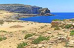 Coastal scenery cliffs view to Fungus Rock, Dwerja Bay, island of Gozo, Malta