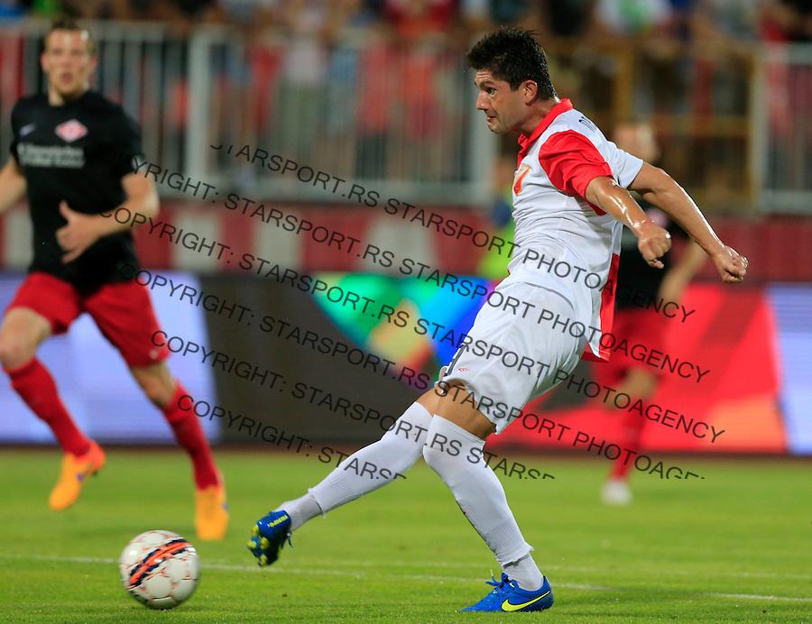 Fudbal UEFA Europa League 2015-2016<br /> Second qualifying round, First leg<br /> Vojvodina v Spartaks Jurmala<br /> Miljan Mrdakovic (R) scores the goal<br /> Novi Sad, 16.07.2015.<br /> foto: Srdjan Stevanovic/Starsportphoto &copy;