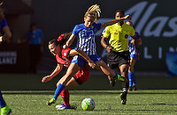 Portland, Oregon - Sunday September 4, 2016: Boston Breakers midfielder Louise Schillgard (10) and Portland Thorns FC forward Hayley Raso (21) collide during a regular season National Women's Soccer League (NWSL) match at Providence Park.