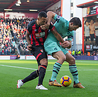 Bournemouth's Callum Wilson (left) battles with Arsenal's Sokratis Papastathopoulos (right) <br /> <br /> Photographer David Horton/CameraSport<br /> <br /> The Premier League - Bournemouth v Arsenal - Sunday 25th November 2018 - Vitality Stadium - Bournemouth<br /> <br /> World Copyright &copy; 2018 CameraSport. All rights reserved. 43 Linden Ave. Countesthorpe. Leicester. England. LE8 5PG - Tel: +44 (0) 116 277 4147 - admin@camerasport.com - www.camerasport.com