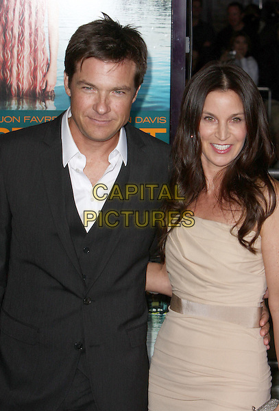 "JASON BATEMAN & AMANDA ANKA.""Couples Retreat"" Los Angeles Premiere held at Mann Village Theatre, Westwood, CA, USA..October 5th, 2009.half length married husband wife black grey gray suit beige cream yellow dress clutch bag silver .CAP/ADM/CH.©Charles Harris/AdMedia/Capital Pictures"