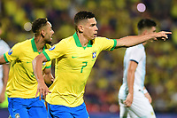 BUCARAMANGA - COLOMBIA, 09-02-2020: Paulinho Paulo Sampaio (#7) de Brasil celebra después de anotar el primer gol de su equipo durante partido entre Argentina U-23 y Brasil U-23 por el cuadrangular final como parte del torneo CONMEBOL Preolímpico Colombia 2020 jugado en el estadio Alfonso Lopez en Bucaramanga, Colombia. / Paulinho Paulo Sampaio (#7) of Brazil celebrates after scoring the first goal of his team during match between Argentina U-23 and Brazil U-23 for for the final quadrangular as part of CONMEBOL Pre-Olympic Tournament Colombia 2020 played at Alfonso Lopez stadium in Bucaramanga, Colombia. Photo: VizzorImage / Julian Medina / Cont