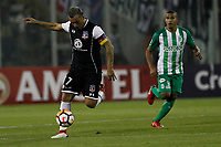 SANTIAGO DE CHILE - CHILE - 27 - 02 - 2018: Esteban Paredes (Izq.) jugador de Colo Colo (CHL) disputa el balón con Macnelly Torres (Der.) jugador de Atletico Nacional (COL), durante partido de la Fase de Grupos, grupo 2, fecha 1 entre Colo Colo (CHL) y Atletico Nacional (COL), por la Copa Conmebol Libertadores 2018 en el estadio Monumental David Arellano, de la ciudad de Santiago de Chile. / Esteban Paredes (L) player of Colo Colo (CHL), vies for the ball with Macnelly Torres (R) player Atletico Nacional (COL), during match of the Group Stage, group 2, 1st date between Colo Colo (CHL) and Atletico Nacional (COL) for Copa Conmebol Libertadores 2018 at the David Arellano Monumental Stadium, in the city of Santiago de Chile. Photos: VizzorImage / Marcelo Hernandez / Cont. / Photosport