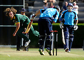 CB40 Saltires V Nottinghamshire Outlaws, at Grange CC, Edinburgh - the explosive action of England and Notts bowler Ryan Sidebottom failed to break an opening of partnership of 83 between his former Yorkshire team-mate, England batsman and Saltire capt Gavin Hamilton (right) and Ryan Watson. The openers later fell to Graeme White - Picture by Donald MacLeod 23.05.10 - mobile 07702 319 738
