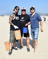 SANTA MONICA - SEPTEMBER 9: Antonio Jaramillo, Edward James Olmos, and Joseph Raymond Lucero volunteer for FX and Disney's Summer of Service Beach Cleanup with Heal the Bay on September 9, 2019 in Santa Monica, California. (Photo by Frank Micelotta/FX/PictureGroup)
