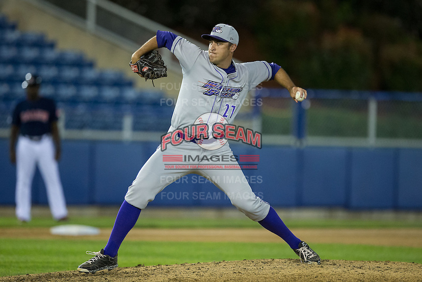 Winston-Salem Dash relief pitcher Sean Hagan (27) in action against the Salem Red Sox at LewisGale Field at Salem Memorial Ballpark on May 13, 2015 in Salem, Virginia.  The Red Sox defeated the Dash 8-2.  (Brian Westerholt/Four Seam Images)