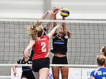 2018-03-10 / Volleybal / Seizoen 2017-2018 / Vrouwen Liga B Noorderkempen - Blaasveld / Nathalie Driesen (Norderkempen) probeert Linde Degr&egrave;ve af te stoppen<br /> <br /> ,Foto: Mpics.be