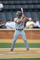 Anthony Vilar (27) of the Miami Hurricanes at bat against the Wake Forest Demon Deacons at David F. Couch Ballpark on May 11, 2019 in  Winston-Salem, North Carolina. The Hurricanes defeated the Demon Deacons 8-4. (Brian Westerholt/Four Seam Images)