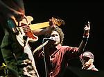 Indio, Ca.- Rage Against The Machine's , Zack de la Rocha, center, performs during finale of the 8th annual Coachella Valley Music and Arts Festival. Sunday, April 29, 2007.
