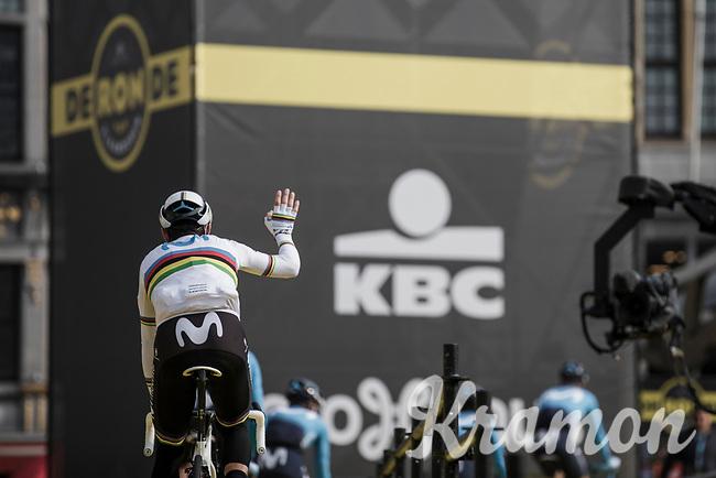 World Champion Alejandro Valverde (ESP/Movistar) at the pre race team presentation<br /> <br /> <br /> 103rd Ronde van Vlaanderen 2019<br /> One day race from Antwerp to Oudenaarde (BEL/270km)<br /> <br /> ©kramon
