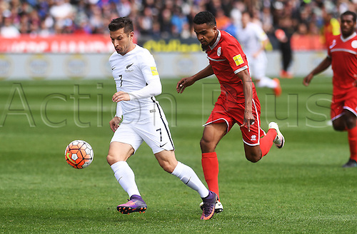 12.11.2016. Auckland, New Zealand.  Kosta Barbarouses makes a run on goal. New Zealand All Whites versus New Caledonia. Oceania Football Confederation stage 3 qualifier match for the FIFA World Cup in Russia 2018. QBE Stadium, Auckland, New Zealand.