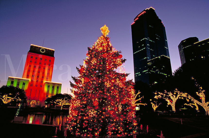 City; office buildings; City Hall; Christmas; tree; decorations. Houston Texas.
