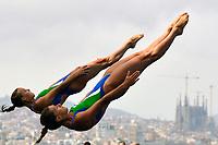 Tania Cagnotto, Francesca Dallape' Italia silver Medal Medagia d'argento <br /> Diving Women's 3m Synchro Springboard - Tuffi Trampolino 3m sincronizzato<br /> Barcellona 20/7/2013 Palau Sant Jordi <br /> Barcelona 2013 15 Fina World Championships Aquatics <br /> Foto Andrea Staccioli Insidefoto