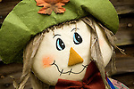 Close up of face of child's scarecrow