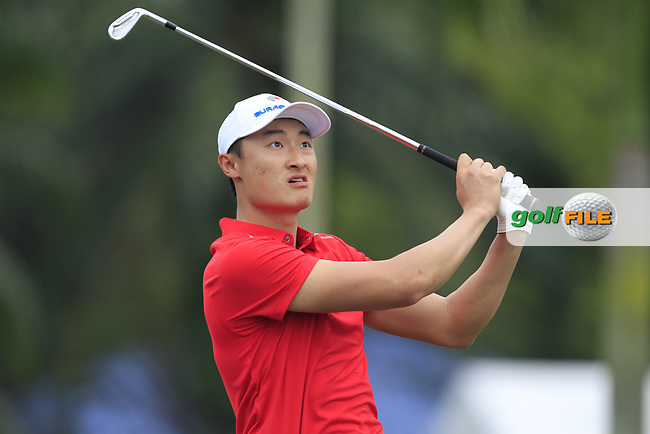 Li Haotong (Asia) on the 2nd tee during the Singles Matches of the Eurasia Cup at Glenmarie Golf and Country Club on the Sunday 14th January 2018.<br /> Picture:  Thos Caffrey / www.golffile.ie