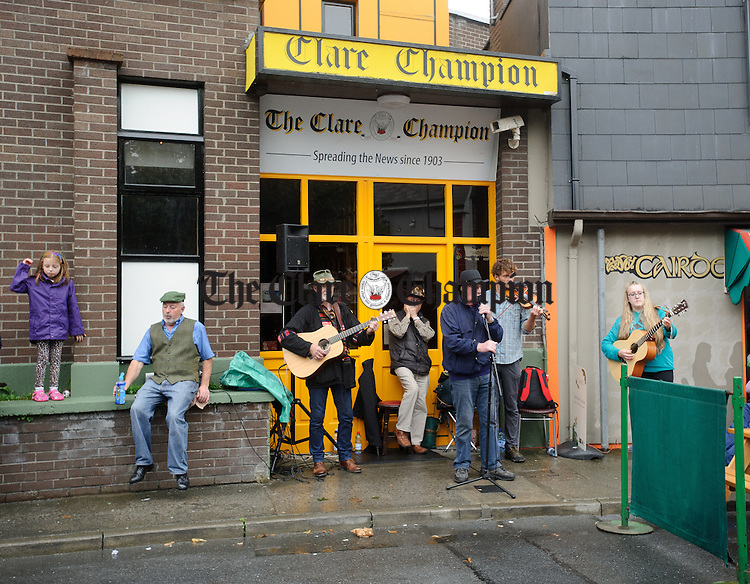 The  Dying Kicks playing at Barrack street during Fleadh Cheoil na hEireann in Ennis. Photograph by John Kelly.