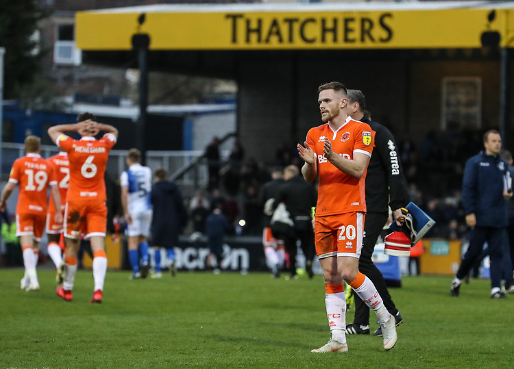 Blackpool's Oliver Turton applauds his side's travelling supporters at the end of the match <br /> <br /> Photographer Andrew Kearns/CameraSport<br /> <br /> The EFL Sky Bet League Two - Bristol Rovers v Blackpool - Saturday 2nd March 2019 - Memorial Stadium - Bristol<br /> <br /> World Copyright © 2019 CameraSport. All rights reserved. 43 Linden Ave. Countesthorpe. Leicester. England. LE8 5PG - Tel: +44 (0) 116 277 4147 - admin@camerasport.com - www.camerasport.com