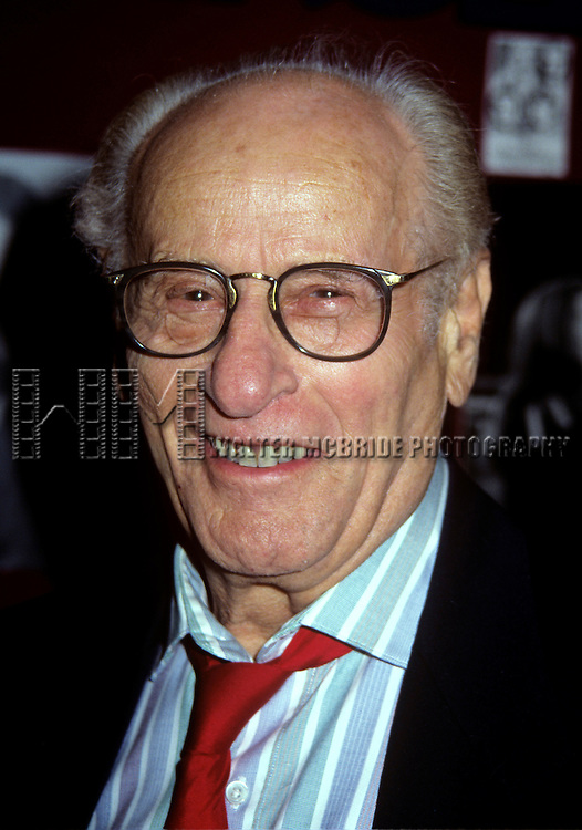 """Eli Wallach and Ann Jackson photographed at O'Neals Restaurant for the opening night of """"Rose Tatoo,"""" at Circle in the Square Theatre, NYC. 4/30/95"""