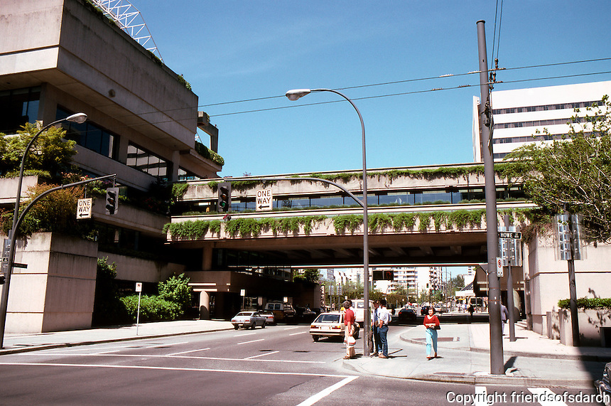 Vancouver: Law Courts. Robson Square overpass.  Photo '86.