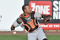 Guillermo Quiroz (41) of the Fresno Grizzlies prior to the game against the Salt Lake Bees at Smith's Ballpark on May 25, 2014 in Salt Lake City, Utah.  (Stephen Smith/Four Seam Images)