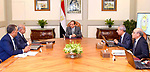Egyptian President Abdel Fattah al-Sisi, meets with Prime Minister Sharif Ismail, in Cairo, Egypt, on July 10, 2017. Photo by Egyptian President Office