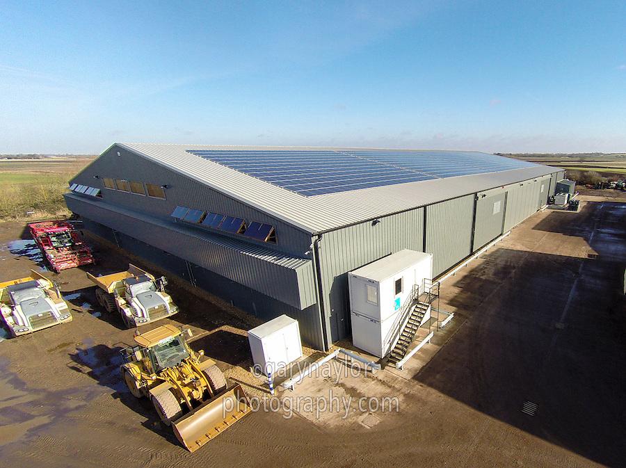 11,000t box potato store with solar panels on the roof - Cambridgeshire, February