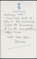 BNPS.co.uk (01202 558833)<br /> Pic: Cheffins/BNPS<br /> <br /> A letter from Diana to Cyril dated September 1984 in which she tells of how William adores his little brother and has been swamping him with hugs and kisses sold for &pound;4,065.<br /> <br /> Heartwarming unseen letters from Princess Diana in which she speaks of Prince William's love for his younger brother and Prince Harry's rebellious side have sold at auction for a total of &pound;19,185.<br /> <br /> In the letters to the late Cyril Dickman, who served as a steward at Buckingham Palace for more than 50 years, she spoke of how William 'could not stop kissing' Harry after he was born in September 1984.<br /> <br /> One particularly touching letter to Mr Dickman, dated March 2, 1985, reads: &quot;William adores his little brother and spends the entire time swamping Harry with an endless supply of hugs and kisses, hardly letting the parents near!&quot; <br /> <br /> The letters were sold individually at Cheffins auctioneers today.