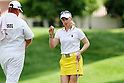 Morgan Pressel (USA),<br /> APRIL 2, 2011 - Golf :<br /> Morgan Pressel of USA with her caddie during the third round of the LPGA Kraft Nabisco Championship golf tournament at Mission Hills Country Club in Rancho Mirage, California CA, USA. (Photo by Yasuhiro JJ Tanabe/AFLO)