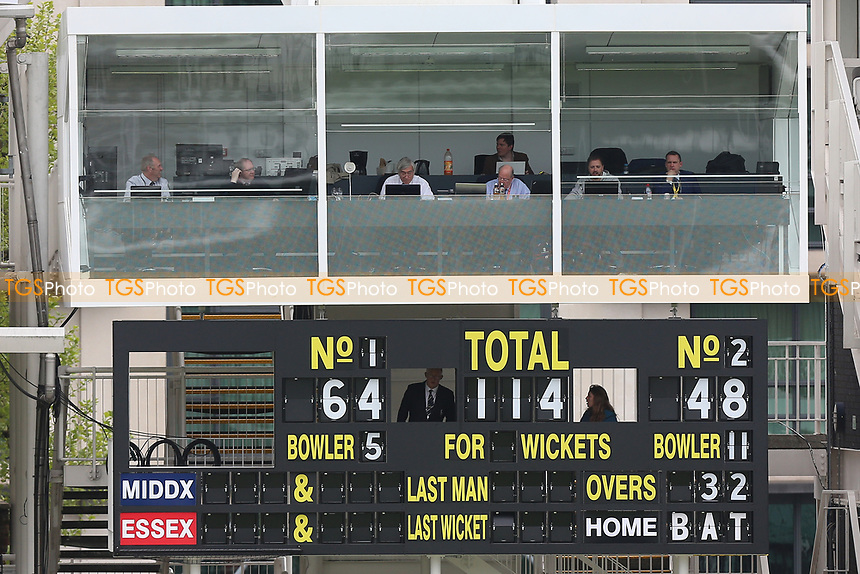 Scoreboard and scorers box during Middlesex CCC vs Essex CCC, Specsavers County Championship Division 1 Cricket at Lord's Cricket Ground on 21st April 2017