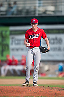 Orem Owlz starting pitcher John Swanda (5) during a Pioneer League game against the Missoula Osprey at Ogren Park Allegiance Field on August 19, 2018 in Missoula, Montana. The Missoula Osprey defeated the Orem Owlz by a score of 8-0. (Zachary Lucy/Four Seam Images)