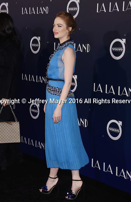 WESTWOOD, CA - DECEMBER 06: Actress Emma Stone arrives at the Premiere Of Lionsgate's 'La La Land' at Mann Village Theatre on December 6, 2016 in Westwood, California.