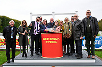 Connections of Moabit receive their trophy for winning  The Byerley Stud 'Season Finale' Handicap  during Bathwick Tyres Reduced Admission Race Day at Salisbury Racecourse on 9th October 2017