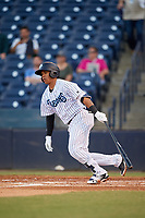 Tampa Tarpons shortstop Thairo Estrada (27) follows through on a swing during a game against the Daytona Tortugas on April 18, 2018 at George M. Steinbrenner Field in Tampa, Florida.  Tampa defeated Daytona 12-0.  (Mike Janes/Four Seam Images)