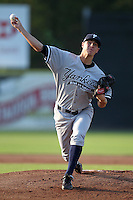 Staten Island Yankees pitcher Shane Greene (45) during a game vs. the Jamestown Jammers at Russell Diethrick Park in Jamestown Jammers, New York July 15, 2010.   Jamestown defeated Staten Island 5-1.  Photo By Mike Janes/Four Seam Images