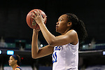 03 March 2016: Duke's Azura Stevens. The Duke University Blue Devils played the University of Virginia Cavaliers at the Greensboro Coliseum in Greensboro, North Carolina in the Atlantic Coast Conference Women's Basketball tournament and a 2015-16 NCAA Division I Women's Basketball game. Duke won the game 57-53.