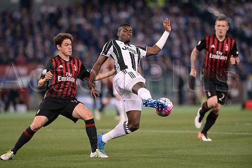 21.05.2016. Stadio Olimpico, Rome, Italy. Coppa Italia Final. AC Milan versus Juventus. Paul Pogba gets his shot on goal