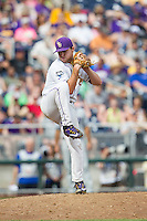LSU Tigers pitcher Hunter Devall (11) winds up against the TCU Horned Frogs in the NCAA College World Series on June 14, 2015 at TD Ameritrade Park in Omaha, Nebraska. TCU defeated LSU 10-3. (Andrew Woolley/Four Seam Images)