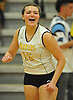 Jillian Graham #15 of Wantagh reacts after winning a point against Lawrence in the Nassau County varsity girls volleyball Class A semifinals at Massapequa High School on Monday, Nov. 7, 2016. Wantagh won 3-1.